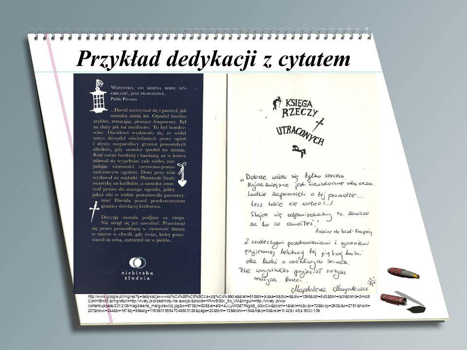 Przykład dedykacji z cytatem