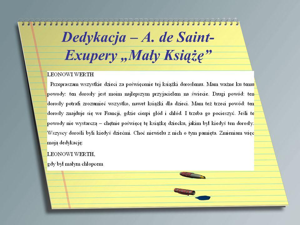 """Dedykacja – A. de Saint-Exupery """"Mały Książę"""