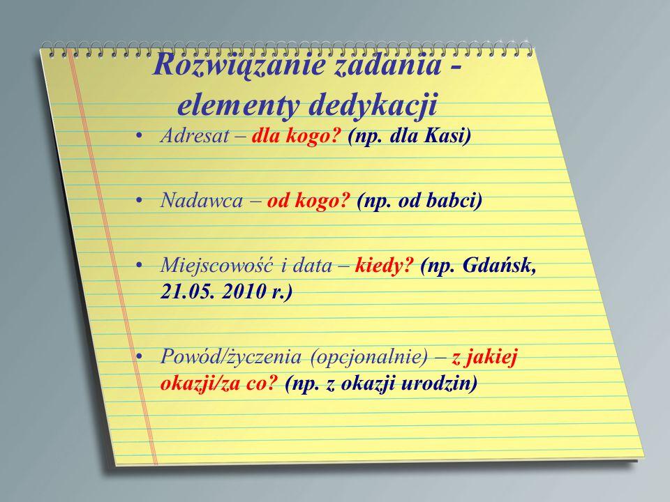 Rozwiązanie zadania - elementy dedykacji