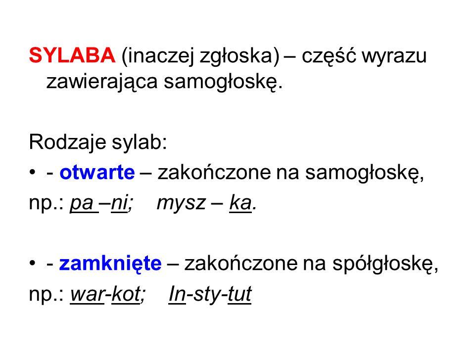 SYLABA (inaczej zgłoska) – część wyrazu zawierająca samogłoskę.