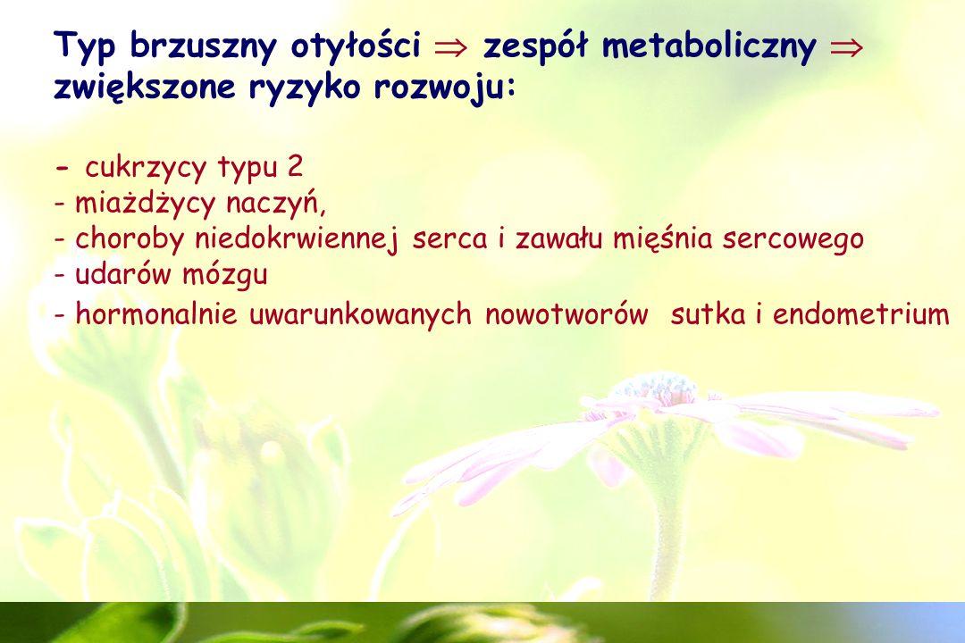 Typ brzuszny otyłości  zespół metaboliczny  zwiększone ryzyko rozwoju: - cukrzycy typu 2 - miażdżycy naczyń, - choroby niedokrwiennej serca i zawału mięśnia sercowego - udarów mózgu - hormonalnie uwarunkowanych nowotworów sutka i endometrium