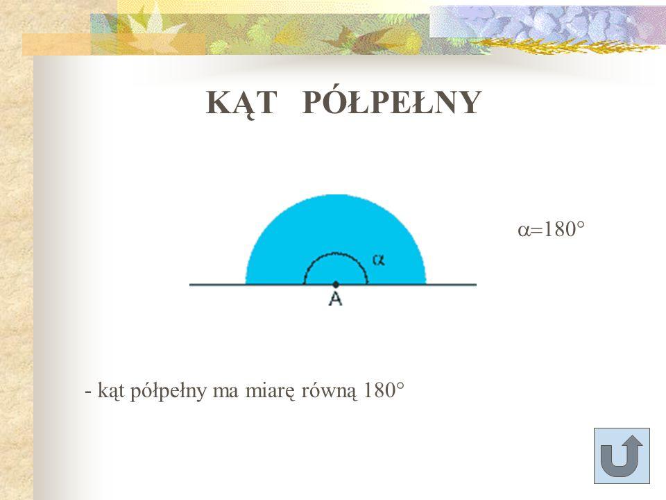 KĄT PÓŁPEŁNY a=180° - kąt półpełny ma miarę równą 180°