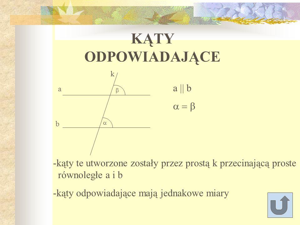 KĄTY ODPOWIADAJĄCE a || b a = b