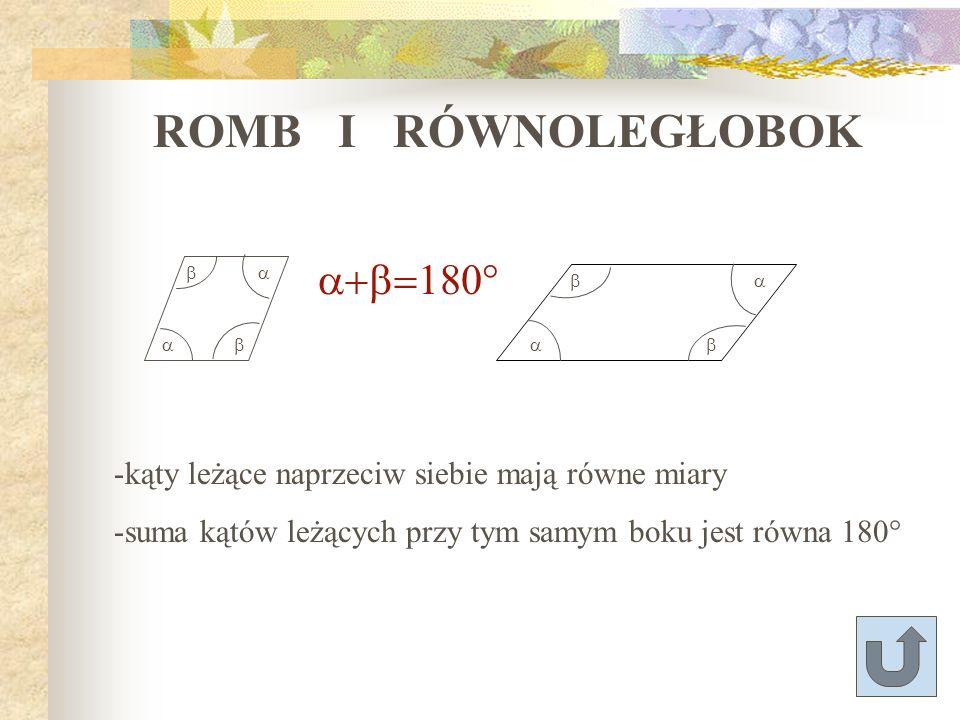ROMB I RÓWNOLEGŁOBOK a+b=180°