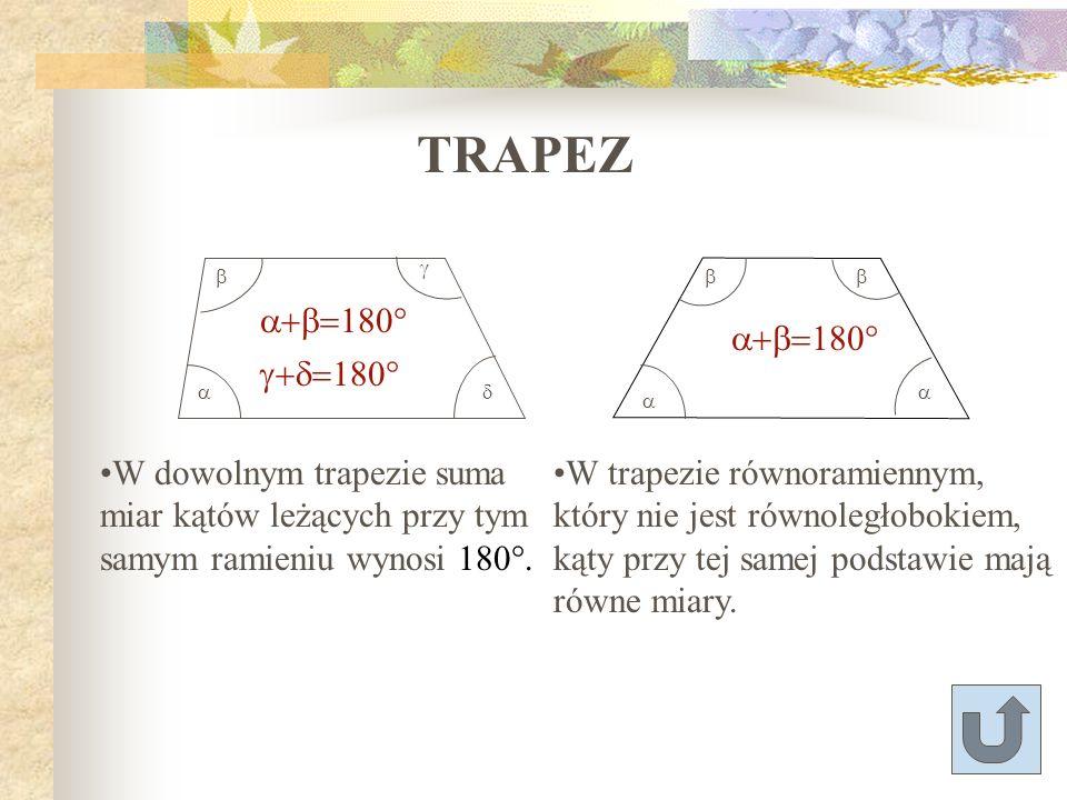 TRAPEZ a+b=180° g+d=180° a+b=180°