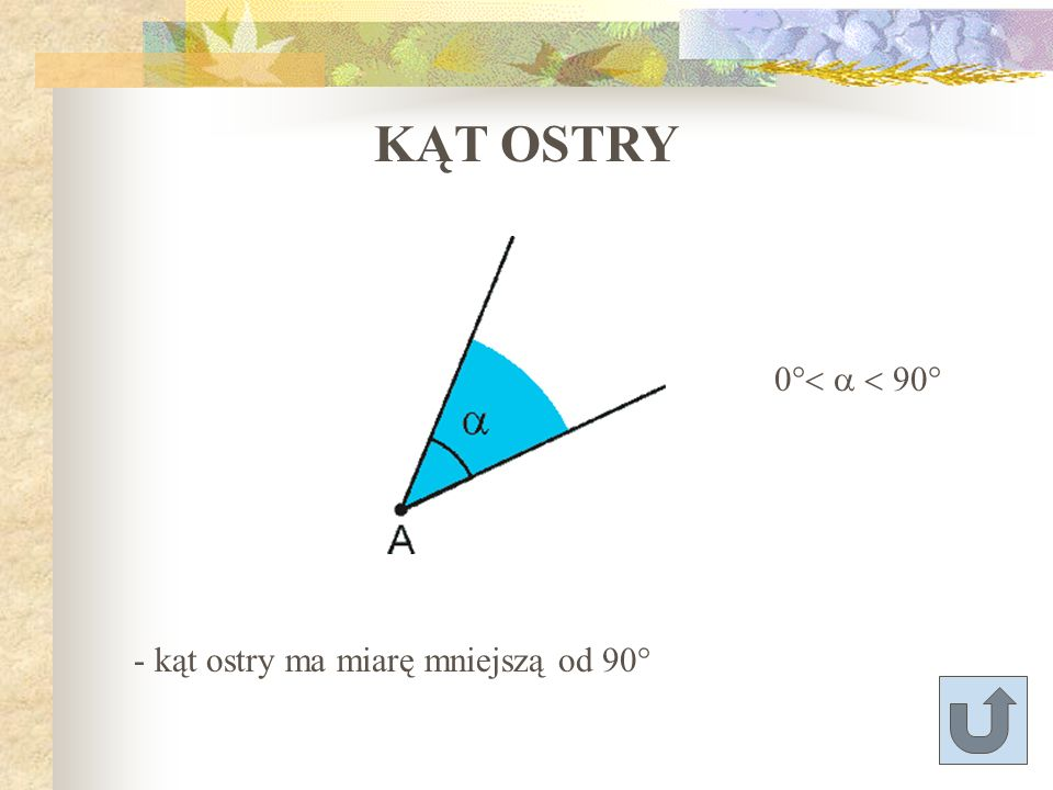 KĄT OSTRY 0°< a < 90° - kąt ostry ma miarę mniejszą od 90°