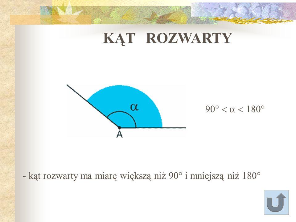 KĄT ROZWARTY 90° < a < 180°