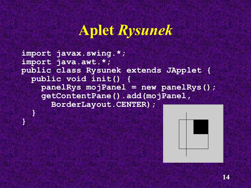Aplet Rysunek import javax.swing.*; import java.awt.*;