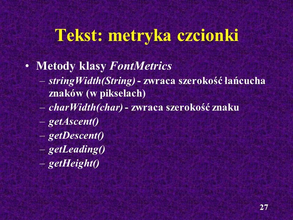 Tekst: metryka czcionki