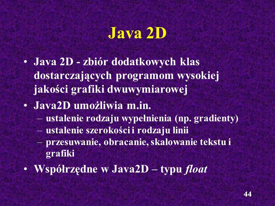 Java 2D Java 2D - zbiór dodatkowych klas dostarczających programom wysokiej jakości grafiki dwuwymiarowej.