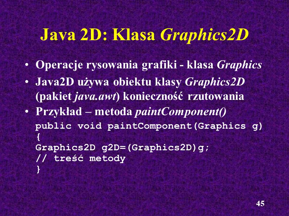 Java 2D: Klasa Graphics2D