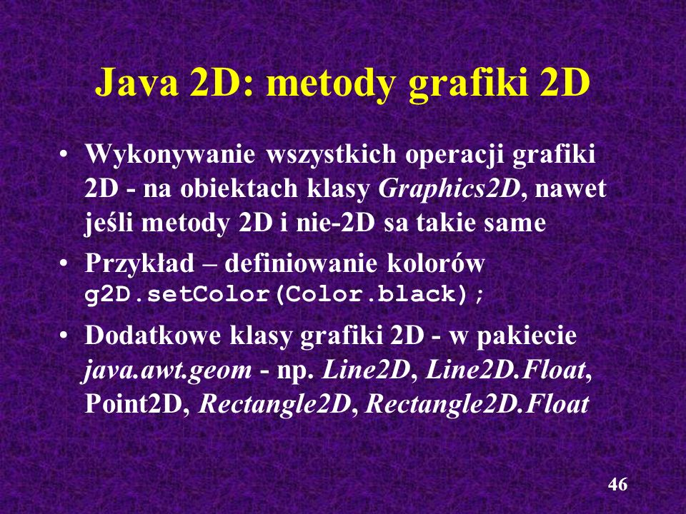 Java 2D: metody grafiki 2D