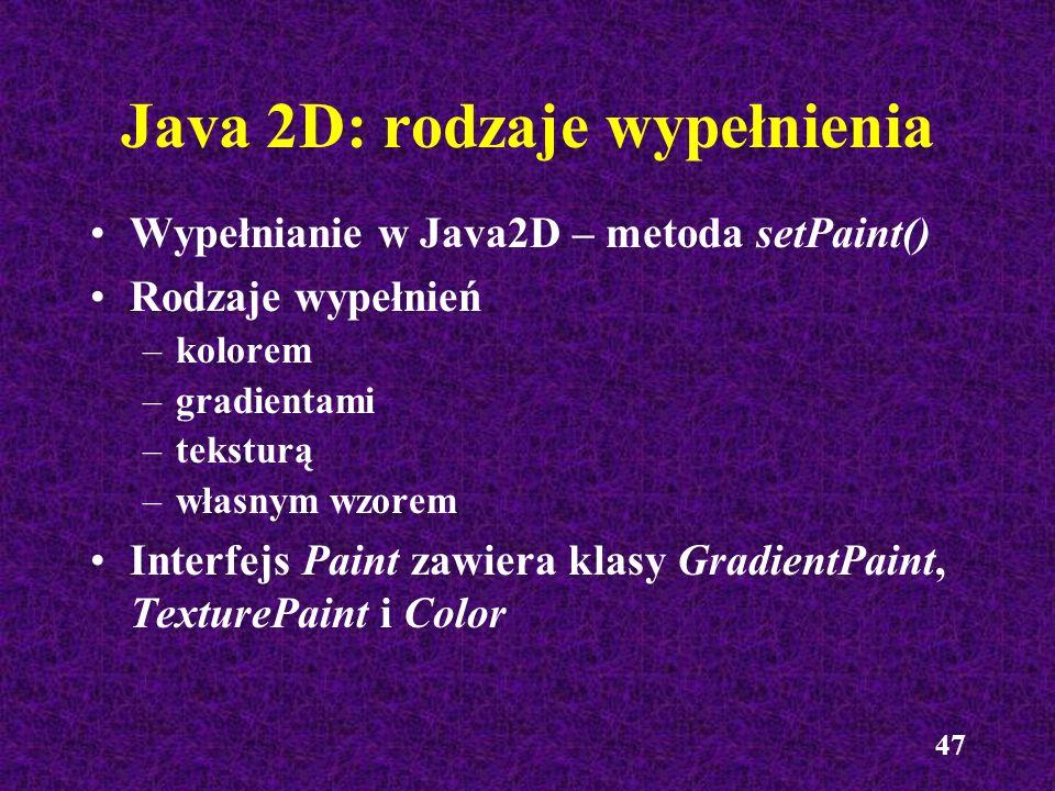 Java 2D: rodzaje wypełnienia
