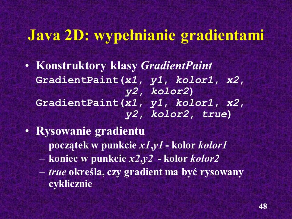 Java 2D: wypełnianie gradientami