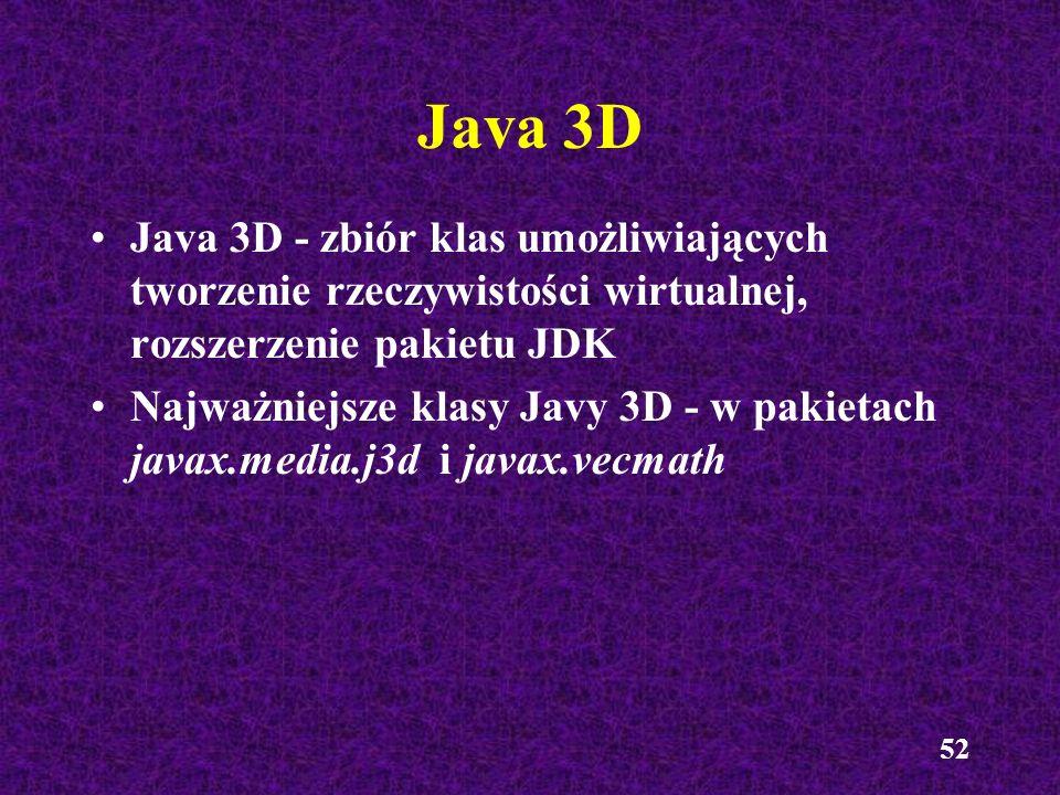 Java 3D Java 3D - zbiór klas umożliwiających tworzenie rzeczywistości wirtualnej, rozszerzenie pakietu JDK.