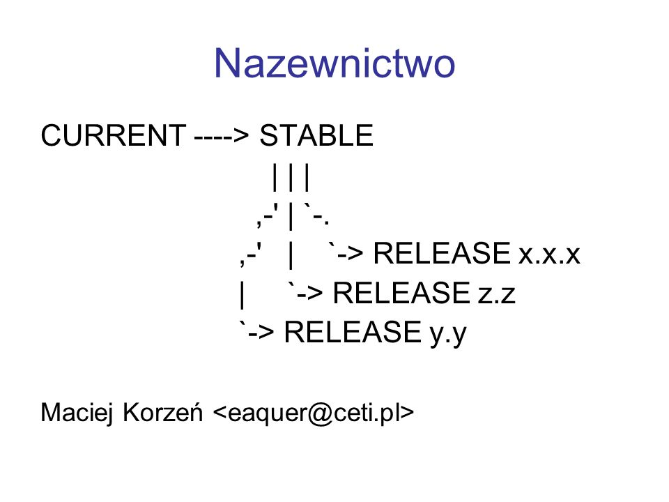 Nazewnictwo CURRENT ----> STABLE | | | ,- | `-.