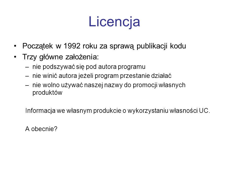 Licencja Początek w 1992 roku za sprawą publikacji kodu