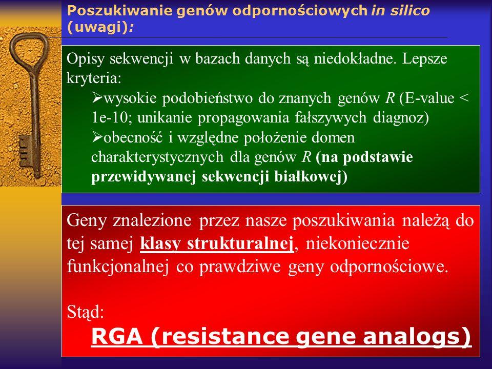 Poszukiwanie genów odpornościowych in silico (uwagi):