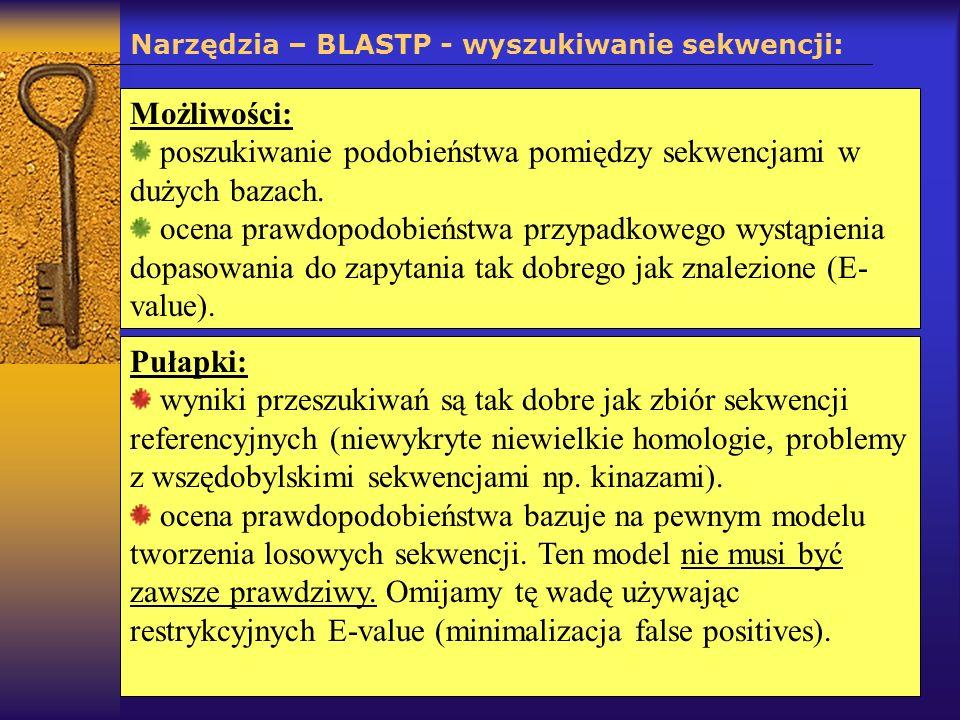 Narzędzia – BLASTP - wyszukiwanie sekwencji: