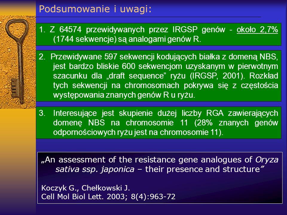 Podsumowanie i uwagi: 1. Z 64574 przewidywanych przez IRGSP genów - około 2,7% (1744 sekwencje) są analogami genów R.