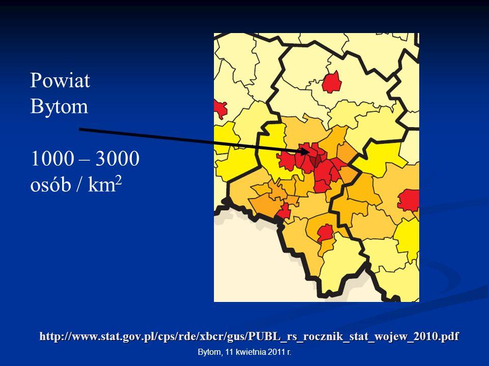 Powiat Bytom. 1000 – 3000. osób / km2. http://www.stat.gov.pl/cps/rde/xbcr/gus/PUBL_rs_rocznik_stat_wojew_2010.pdf.