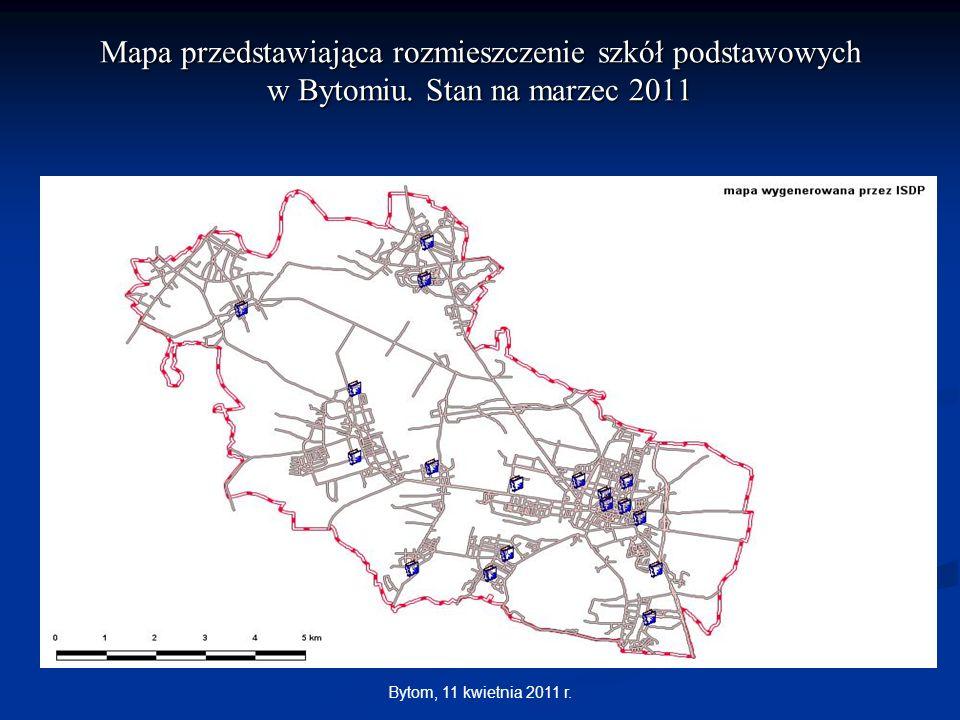 Mapa przedstawiająca rozmieszczenie szkół podstawowych w Bytomiu