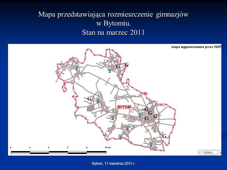 Mapa przedstawiająca rozmieszczenie gimnazjów w Bytomiu