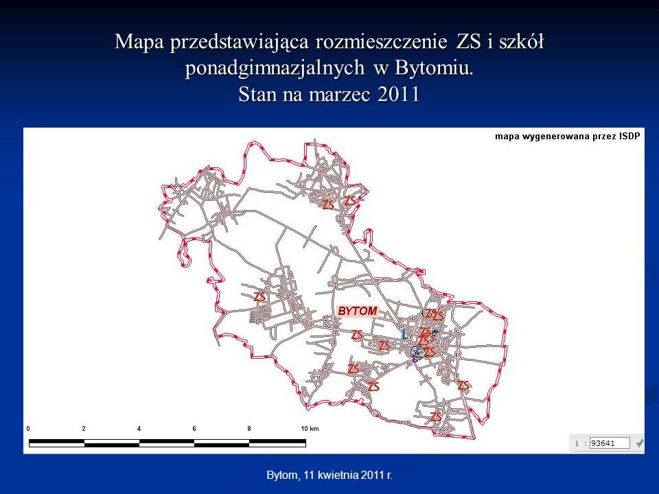 Mapa przedstawiająca rozmieszczenie ZS i szkół ponadgimnazjalnych w Bytomiu. Stan na marzec 2011