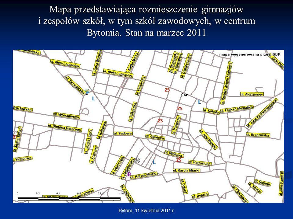 Mapa przedstawiająca rozmieszczenie gimnazjów i zespołów szkół, w tym szkół zawodowych, w centrum Bytomia. Stan na marzec 2011