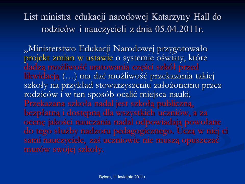 List ministra edukacji narodowej Katarzyny Hall do rodziców i nauczycieli z dnia 05.04.2011r.