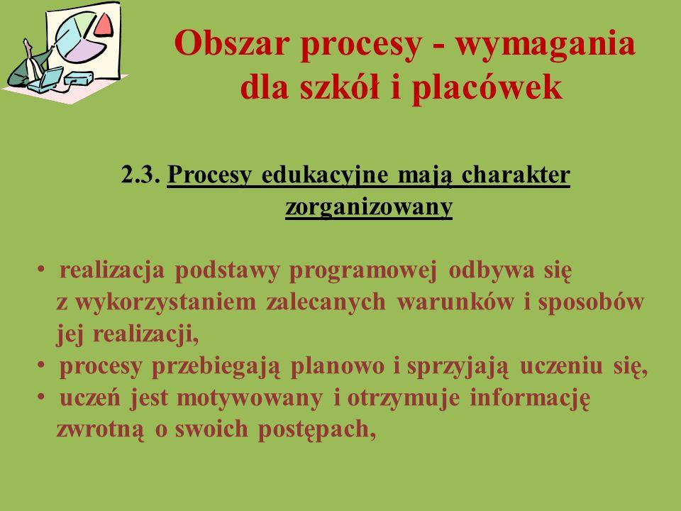 Obszar procesy - wymagania dla szkół i placówek