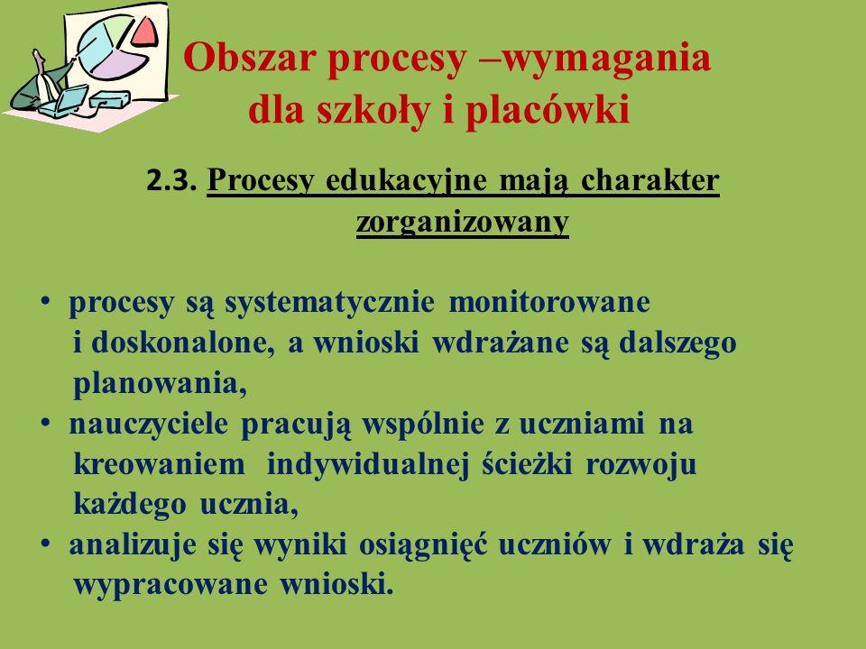 2.3. Procesy edukacyjne mają charakter zorganizowany