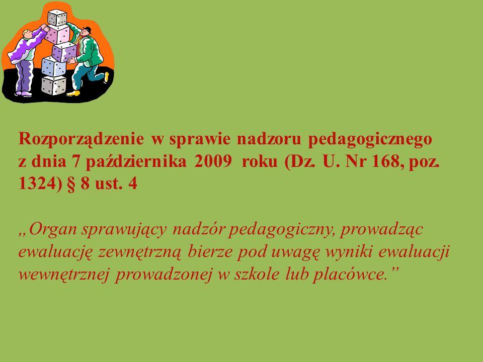Rozporządzenie w sprawie nadzoru pedagogicznego z dnia 7 października 2009 roku (Dz. U. Nr 168, poz. 1324) § 8 ust. 4