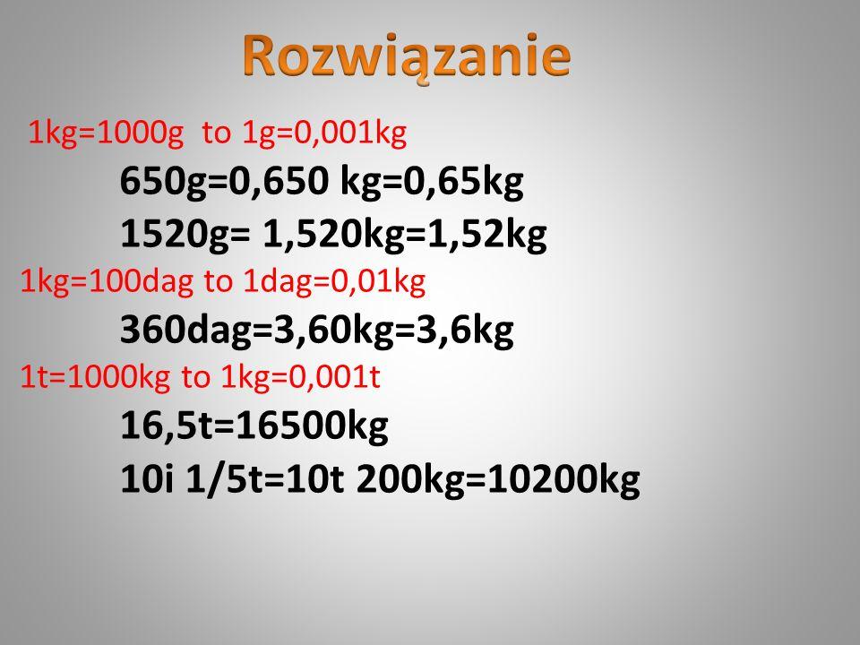 Rozwiązanie 650g=0,650 kg=0,65kg 1520g= 1,520kg=1,52kg