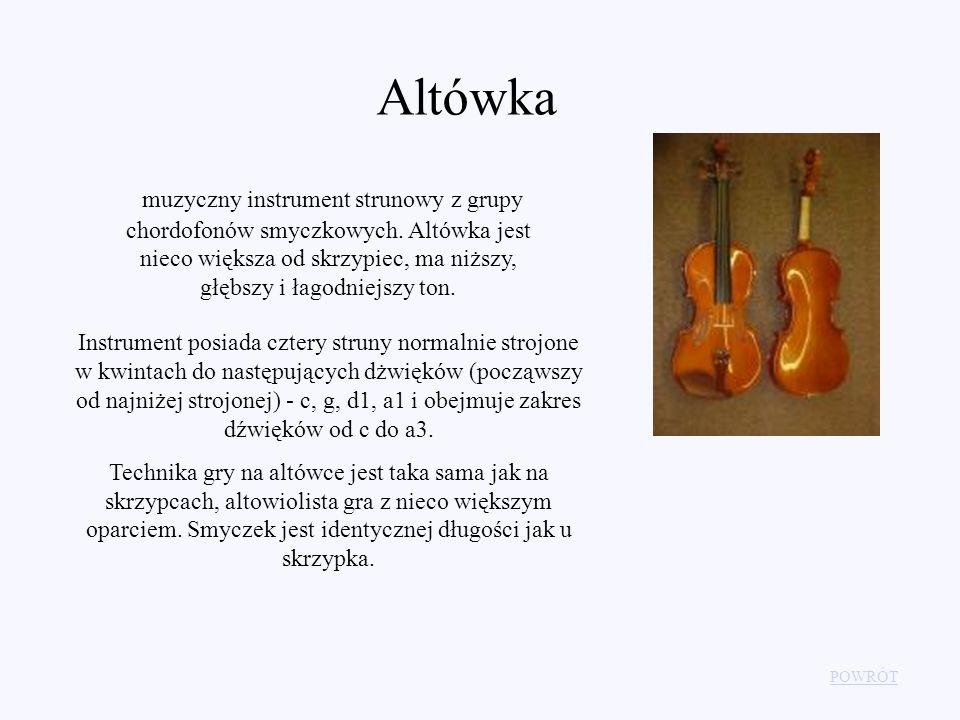 Altówka muzyczny instrument strunowy z grupy chordofonów smyczkowych. Altówka jest nieco większa od skrzypiec, ma niższy, głębszy i łagodniejszy ton.