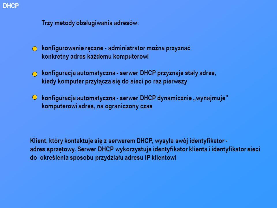DHCP Trzy metody obsługiwania adresów: konfigurowanie ręczne - administrator można przyznać. konkretny adres każdemu komputerowi.