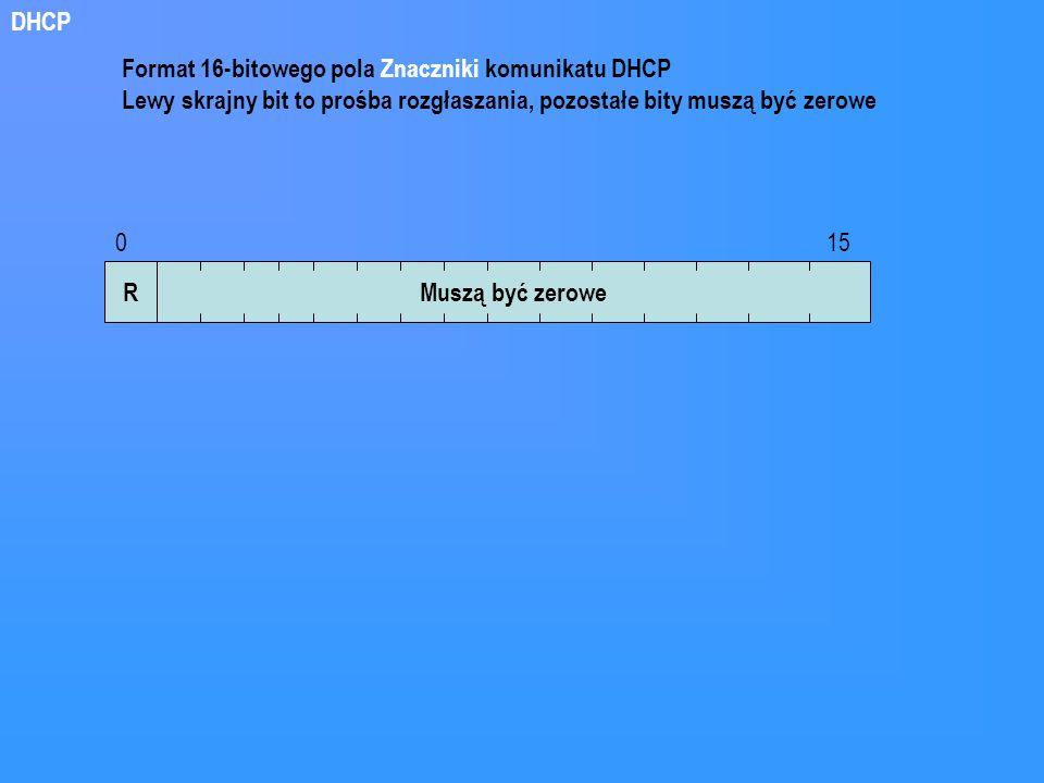 DHCP Format 16-bitowego pola Znaczniki komunikatu DHCP. Lewy skrajny bit to prośba rozgłaszania, pozostałe bity muszą być zerowe.
