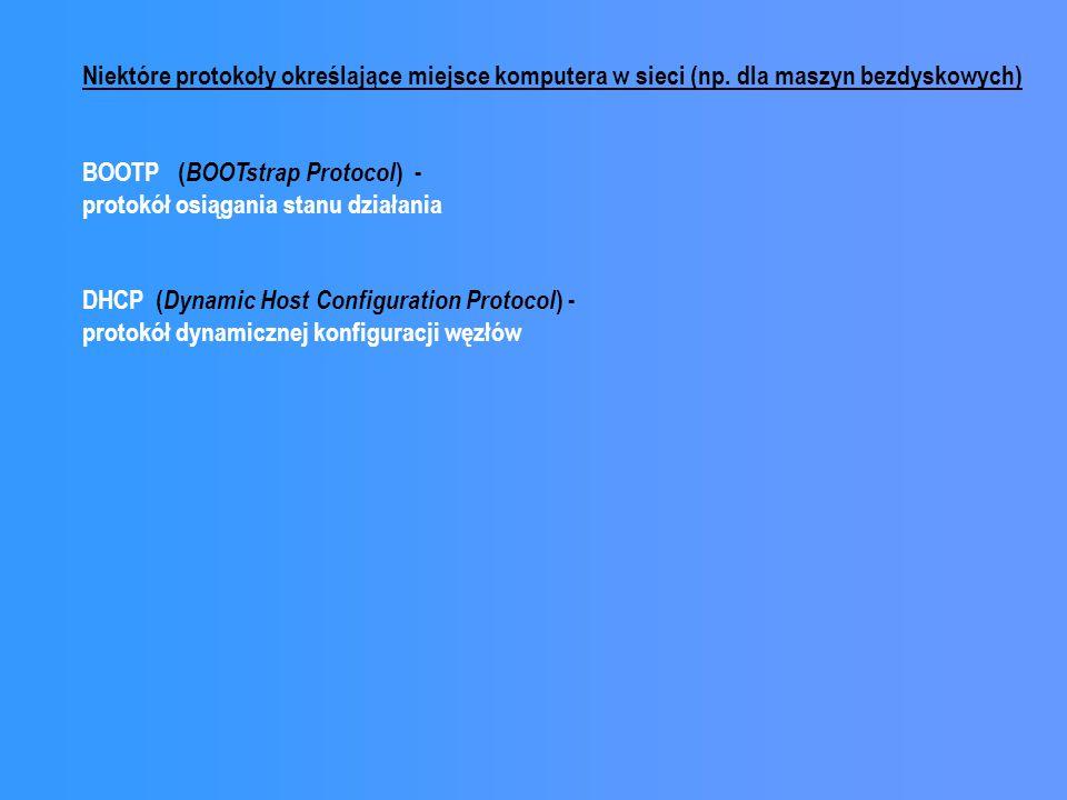 Niektóre protokoły określające miejsce komputera w sieci (np