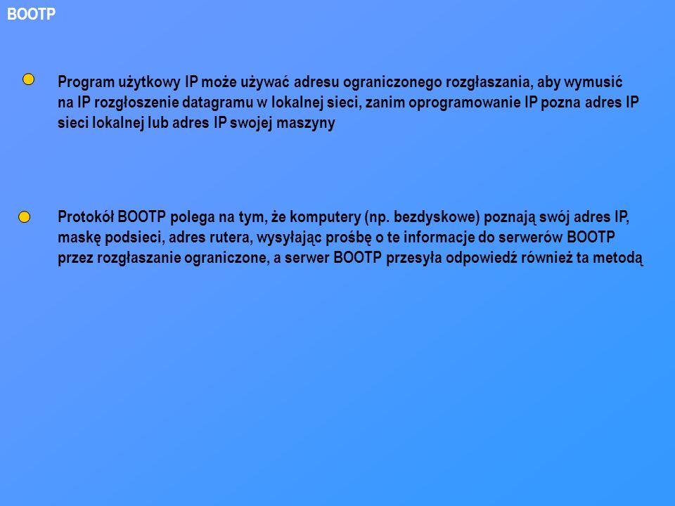 BOOTP Program użytkowy IP może używać adresu ograniczonego rozgłaszania, aby wymusić.