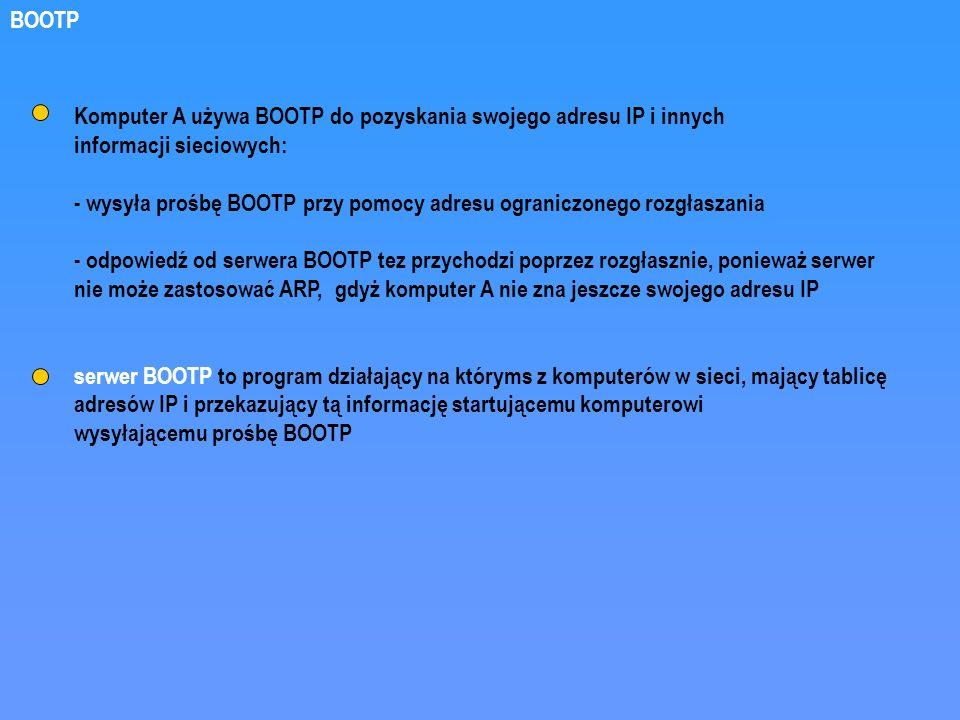 BOOTP Komputer A używa BOOTP do pozyskania swojego adresu IP i innych. informacji sieciowych: