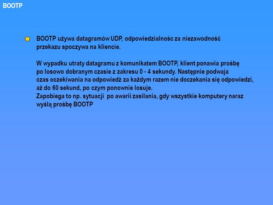 BOOTP BOOTP używa datagramów UDP, odpowiedzialnośc za niezawodność. przekazu spoczywa na kliencie.