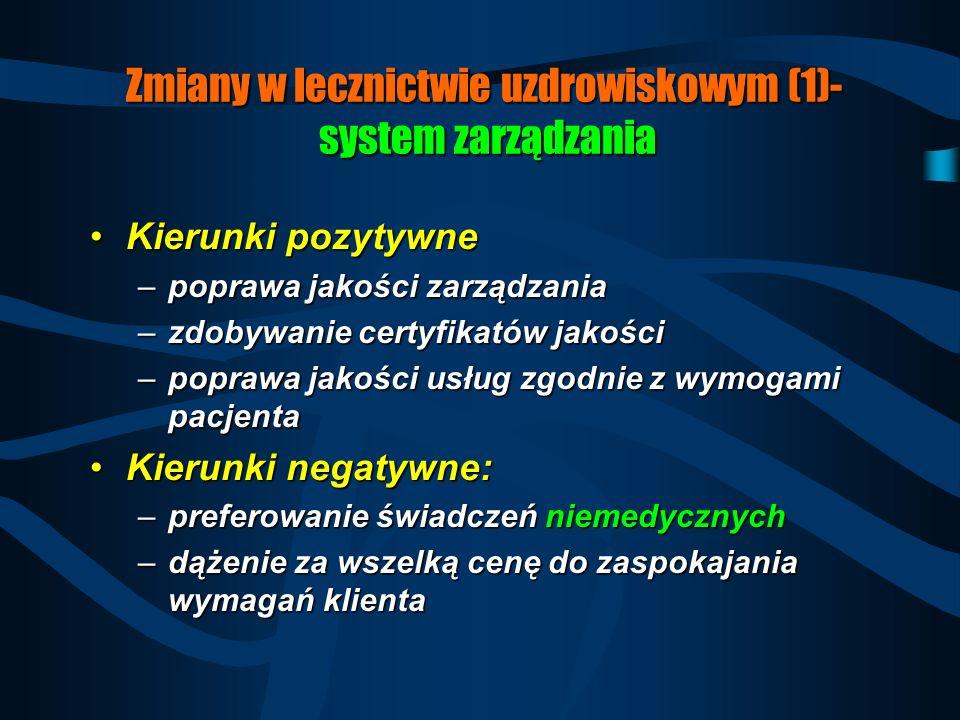 Zmiany w lecznictwie uzdrowiskowym (1)- system zarządzania
