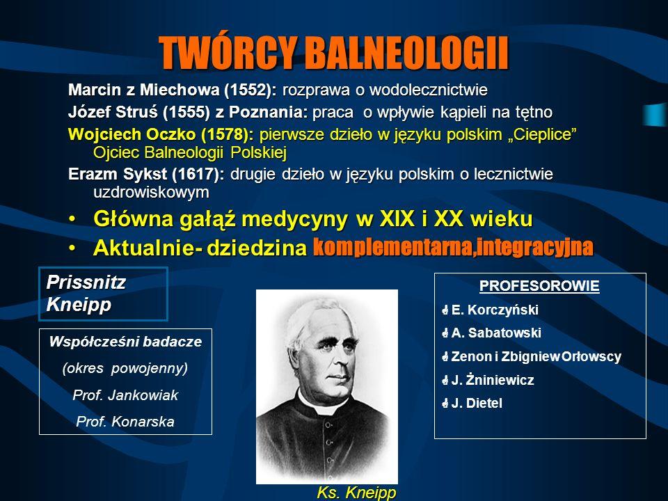 TWÓRCY BALNEOLOGII Główna gałąź medycyny w XIX i XX wieku