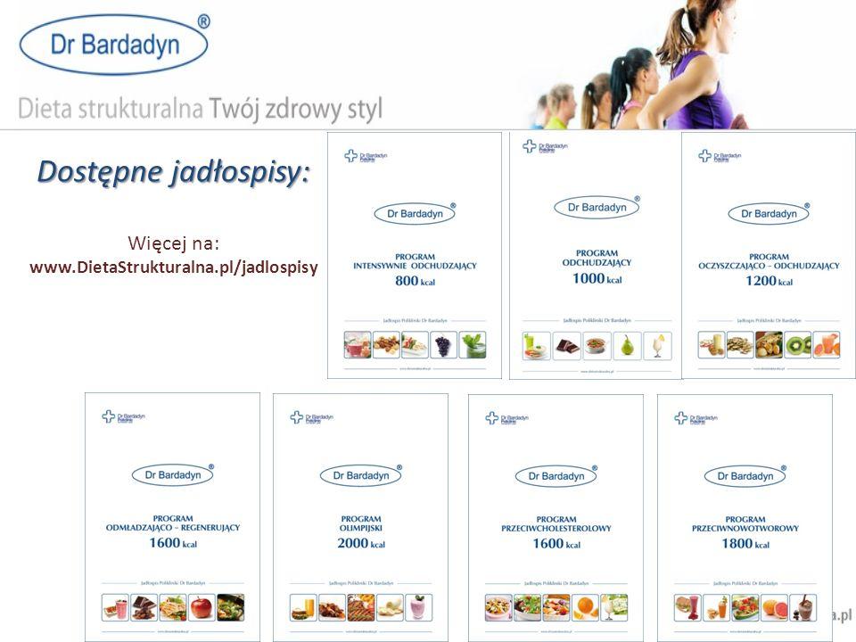 Dostępne jadłospisy: Więcej na: www.DietaStrukturalna.pl/jadlospisy