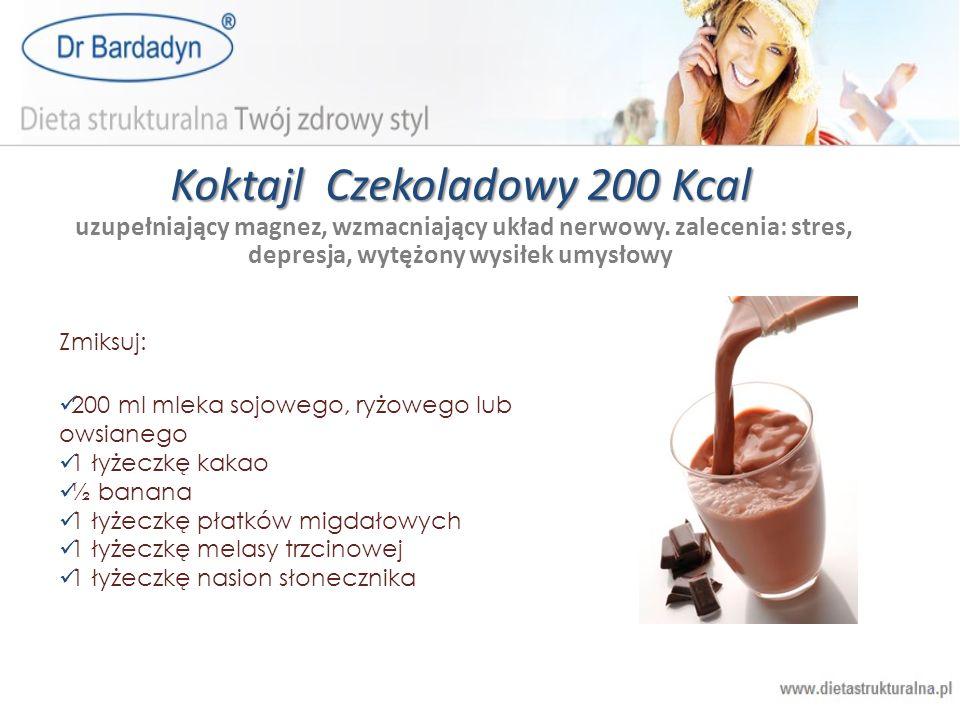 Koktajl Czekoladowy 200 Kcal uzupełniający magnez, wzmacniający układ nerwowy. zalecenia: stres, depresja, wytężony wysiłek umysłowy
