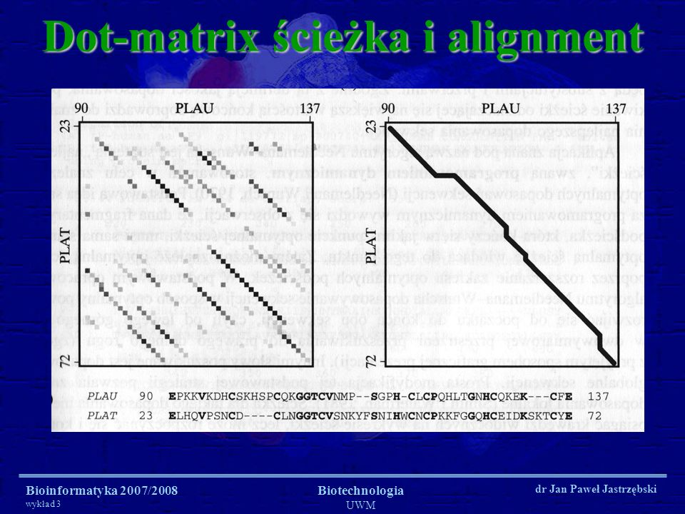 Dot-matrix ścieżka i alignment