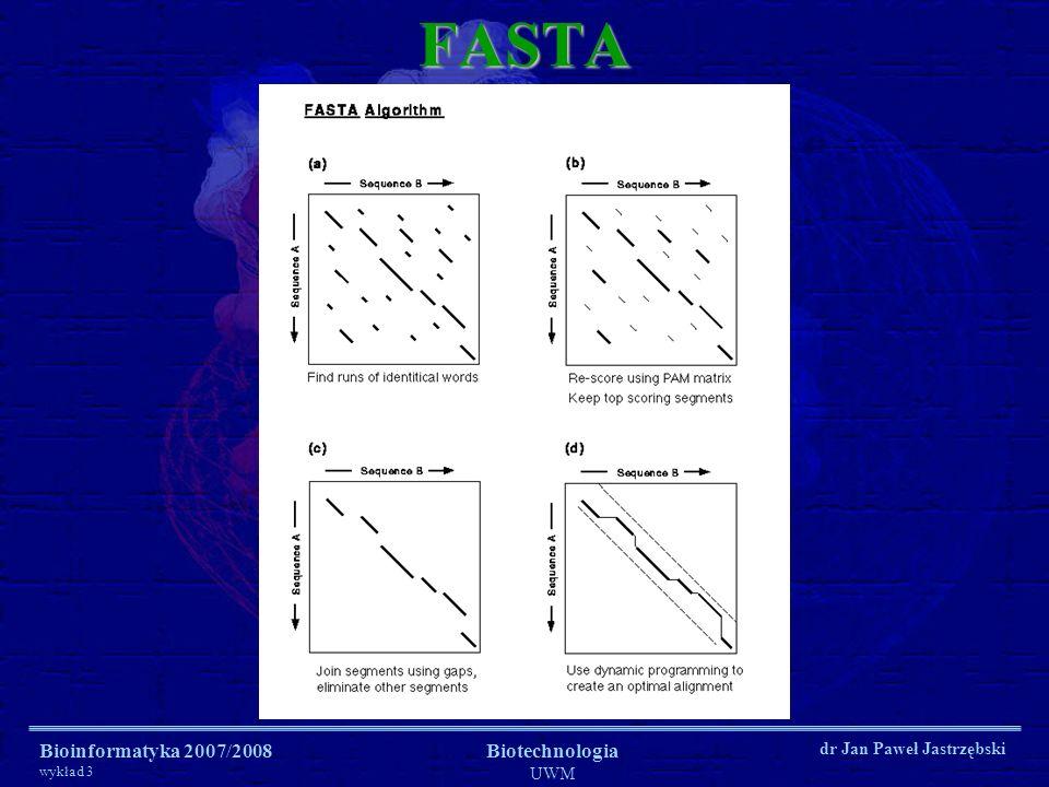 FASTA Bioinformatyka 2007/2008 wykład 3 Biotechnologia UWM