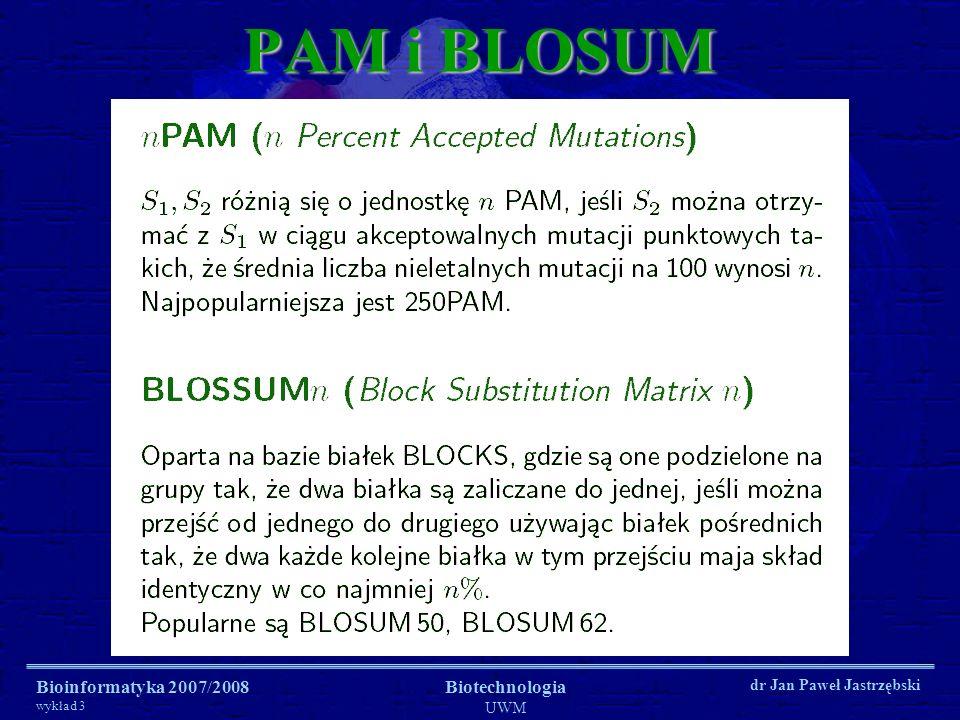 PAM i BLOSUM Bioinformatyka 2007/2008 wykład 3 Biotechnologia UWM