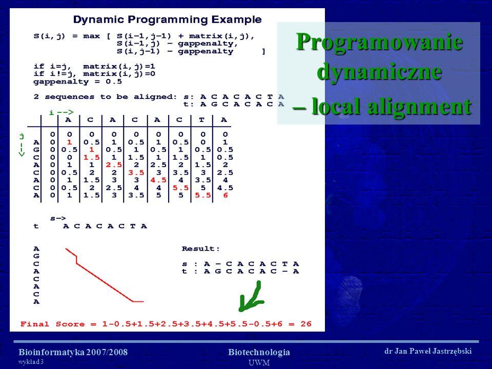 Programowanie dynamiczne – local alignment