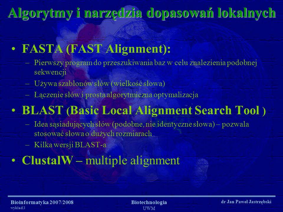 Algorytmy i narzędzia dopasowań lokalnych